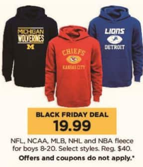Kohl's Black Friday: NFL, NCAA, MLB, NHL and NBA Boys Fleece, Select Styles for $19.99