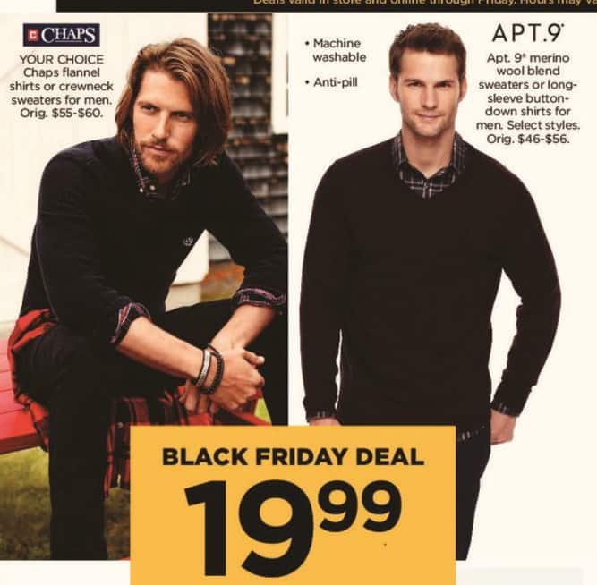 Kohl's Black Friday: Apt 9 Men's Merino Wool Blend Sweaters or Long Sleeve Button-Down Shirts for $19.99
