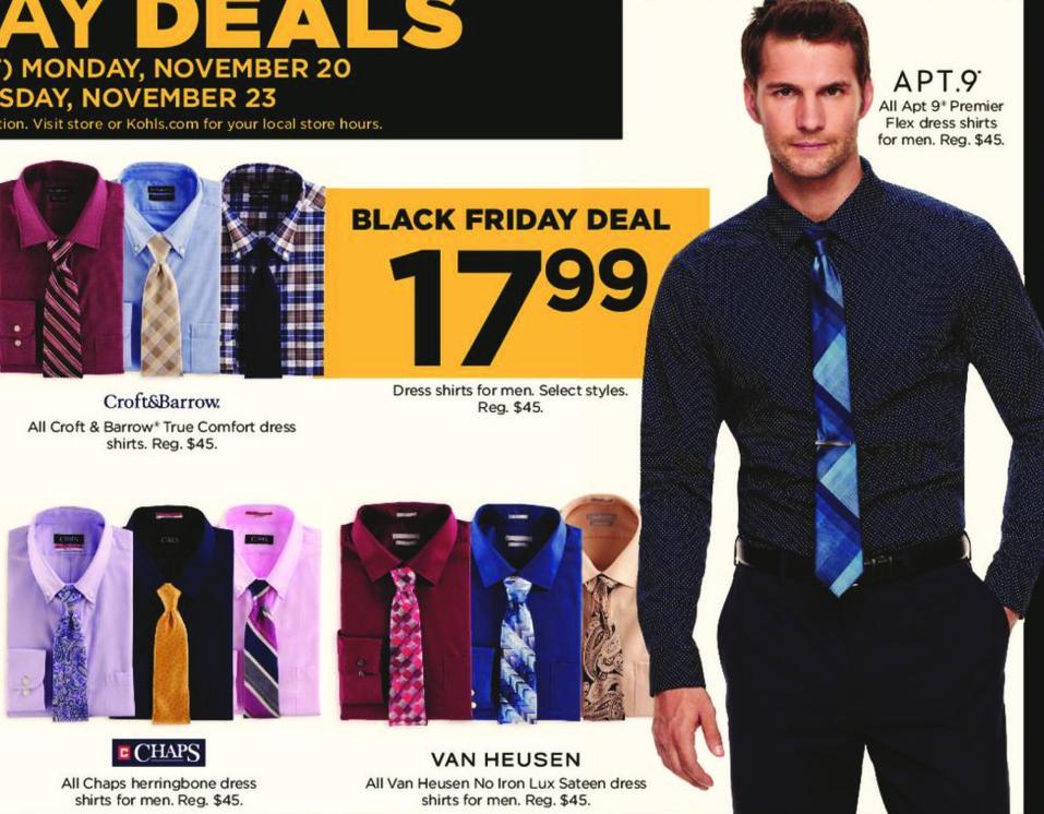 Kohl's Black Friday: All Van Heusen Men's No Iron Lux Sateen Dress Shirts for $17.99