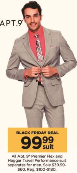 Kohl's Black Friday: All Apt 9 Men's Premier Flex and Haggar Travel Performance Suit Separates for $99.99