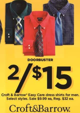 Kohl's Black Friday: (2) Croft & Barrow Men's Easy Care Dress Shirts for $15.00