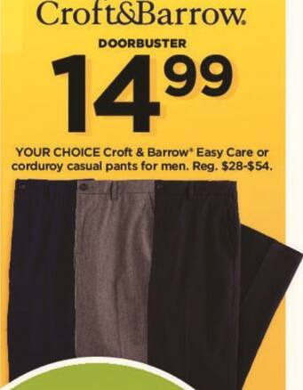 Kohl's Black Friday: Croft & Barrow Men's Easy Care or Corduroy Casual Pants for $14.99