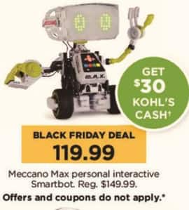 Kohl's Black Friday: Meccano Max Personal Interactive Smartbot + $30 Kohl's Cash for $119.99
