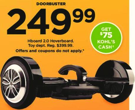 Kohl's Black Friday: Hboard 2.0 Hoverboard + $75 Kohl's Cash for $249.99