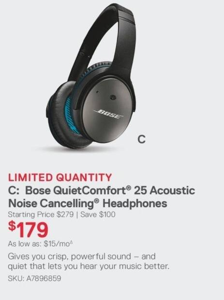 1473a39568a Dell Small Business Black Friday: Bose QuietComfort 25 Acoustic Noise  Cancelling Headphones for $179.00