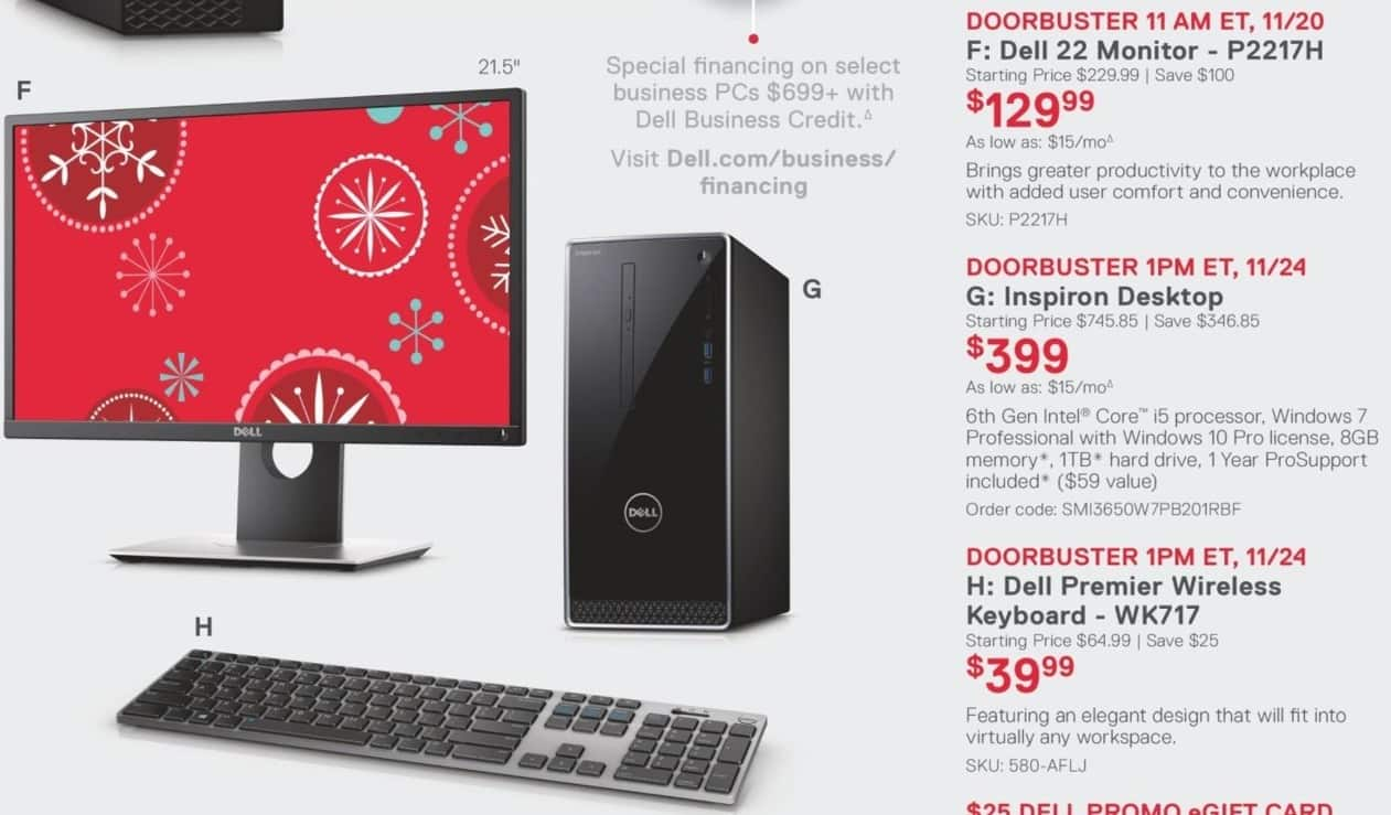 Dell Small Business Black Friday: Dell Inspiron Desktop: Intel Core i5 (6th Gen), 8GB RAM, 1TB HDD, Win 7 Pro w/Win 10 Pro License for $399.00