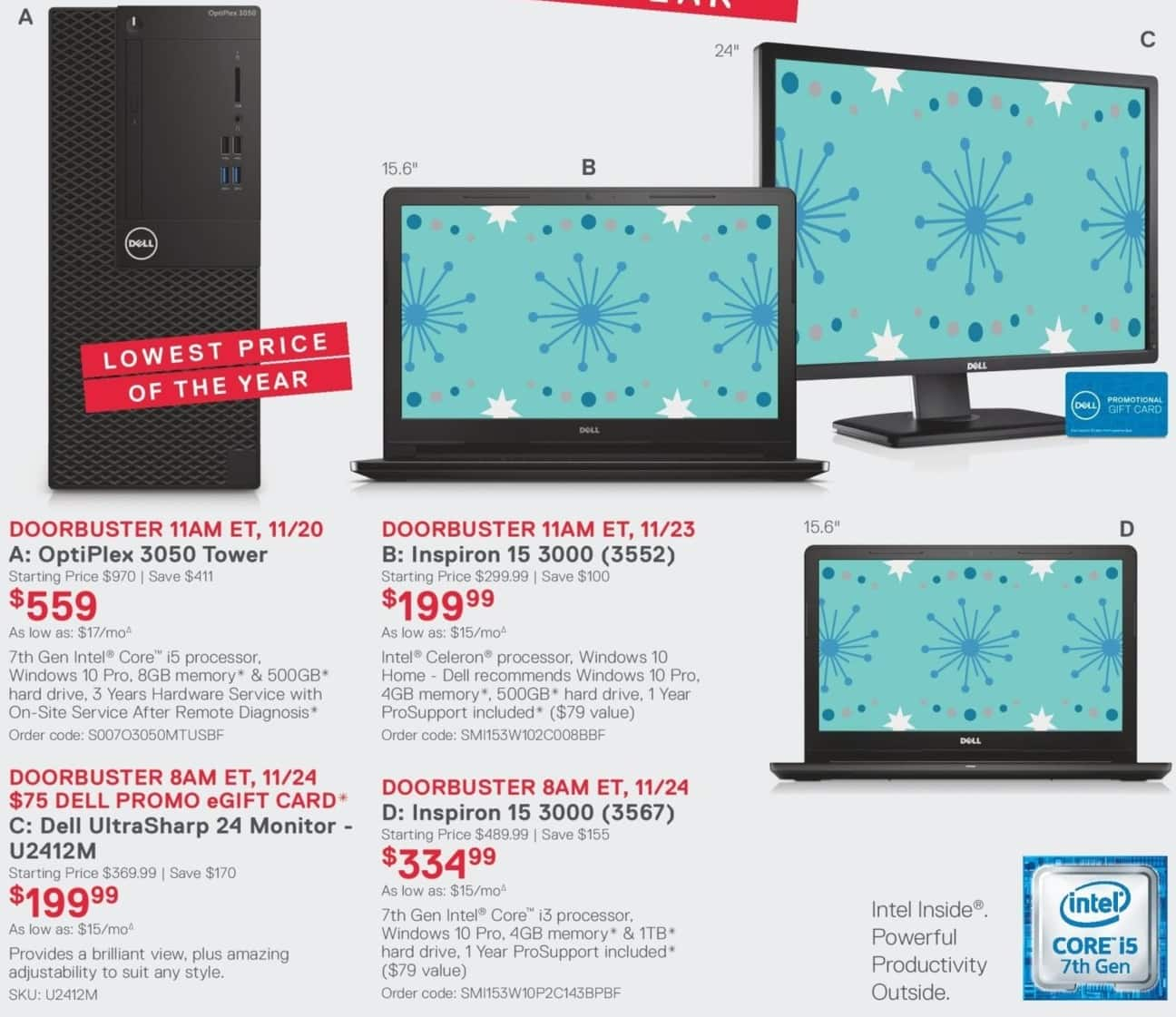 Dell Small Business Black Friday: OptiPlex 3050 Tower: Intel Core i5 (7th Gen), 8GB RAM, 500GB HDD, Win 10 Pro for $559.00