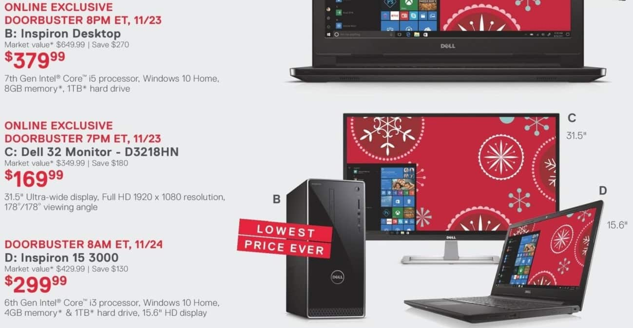 Dell Home & Office Black Friday: Dell Inspiron Desktop: Intel Core i5 (7th Gen), 8GB RAM, 1 TB HDD, Win 10 Home for $379.99