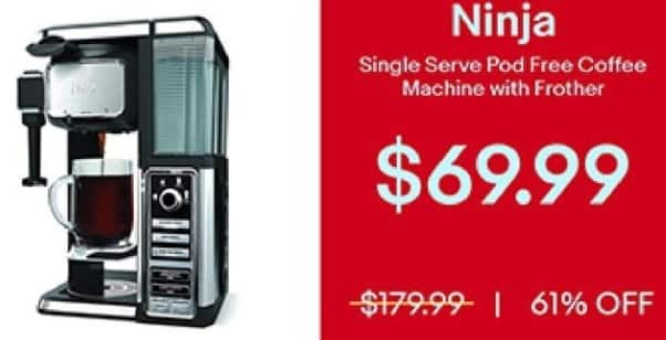 eBay Black Friday: Ninja Single Serve Pod Free Coffee Machine with Frother for $69.99