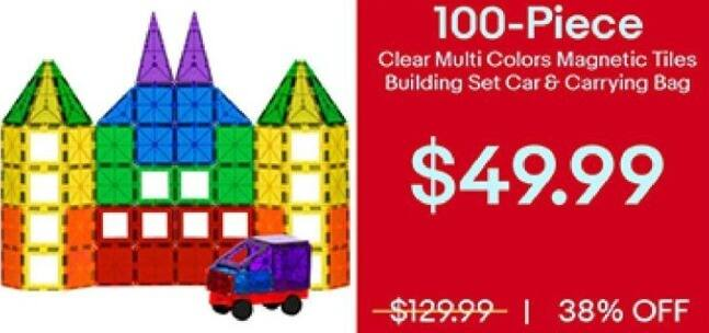 Ebay Black Friday 100 Pc Clear Multi Colors Magnetic Tiles Building Set Car And