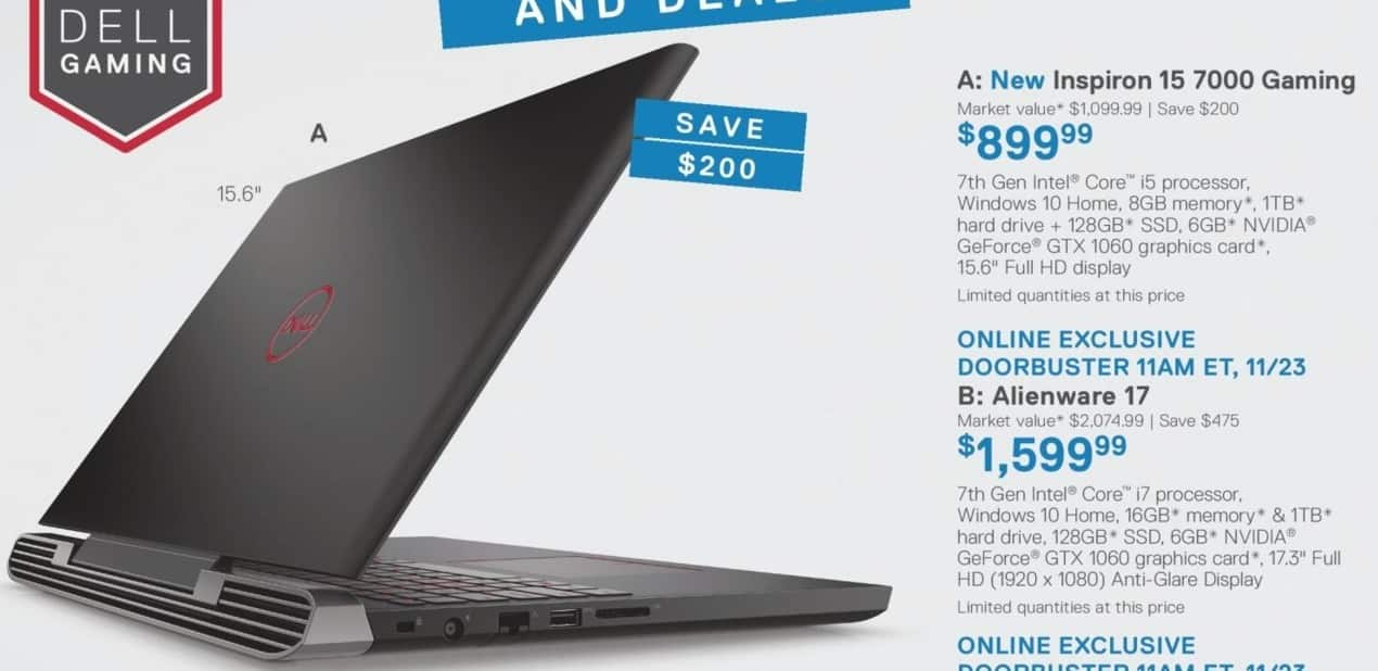 Dell Home & Office Black Friday: New Dell Inspiron 15 7000 Gaming Laptop: Intel Core i5 (7th Gen), 8GB RAM, 1 TB HDD + 128GB SSD, NVIDIA GeForce GTX 1070, Win 10 Home for $899.99