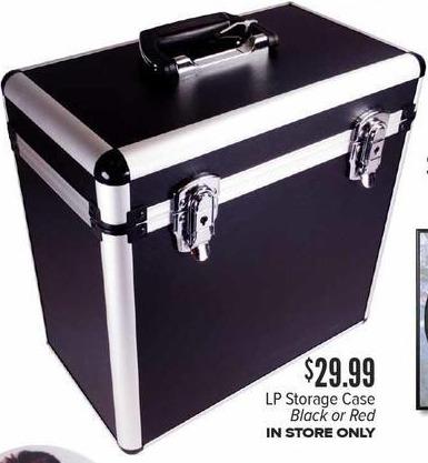 Half Price Books Black Friday: LP Storage Case in Black or Red for $29.99