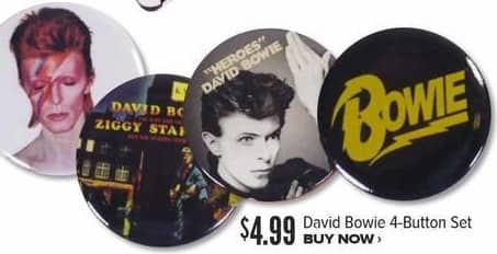 Half Price Books Black Friday: David Bowie 4 Button Set for $4.99
