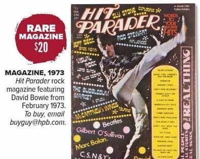 Half Price Books Black Friday: Rare Magazine: 1973 Hit Parader Rock Magazine Featuring David Bowie for $20.00
