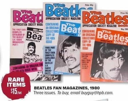 Half Price Books Black Friday: Rare Beatles Fan Magazines from 1980, 3 Issues for $15.00