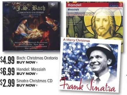 Half Price Books Black Friday: Bach Christmas Oratorio CD for $4.99
