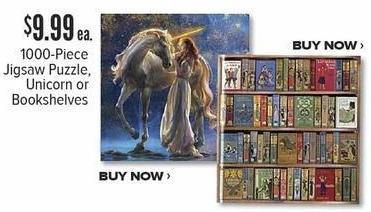 Half Price Books Black Friday: 1000-Piece Jigsaw Puzzle, Unicorn or Bookshelves for $9.99