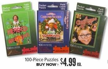 Half Price Books Black Friday: 100-Piece Christmas Puzzles, Assorted Styles for $4.99