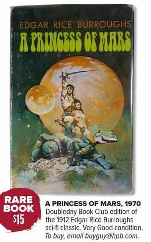 Half Price Books Black Friday: Rare Book: Edgar Rice Burroughs A Princess of Mars 1970, Doubleday Book Club Edition of the Sci-Fi Classic for $15.00