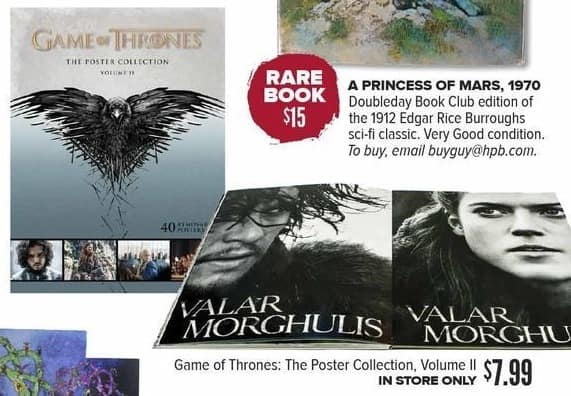 Half Price Books Black Friday: Game of Thrones: The Poster Collection, Volume II for $7.99
