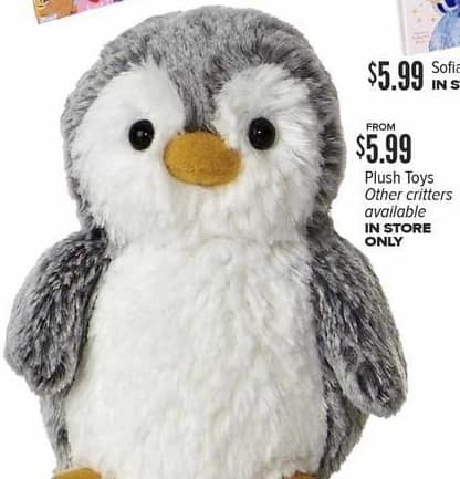 Half Price Books Black Friday: Penguin Plush Toy, Other Various Critters Also Available for $5.99