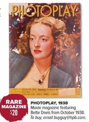 Half Price Books Black Friday: Rare Magazine: Photoplay, Movie Magazine Featuring Bette Davis from 1938 for $20.00