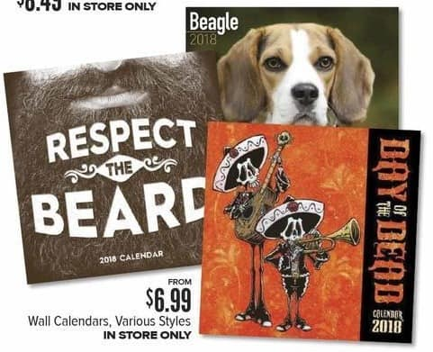 Half Price Books Black Friday: 2018 Wall Calendars, Various Styles - from $6.99