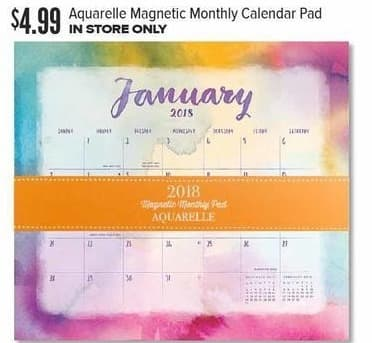 Half Price Books Black Friday: Aquarelle Magnetic Monthly Calendar Pad for $4.99
