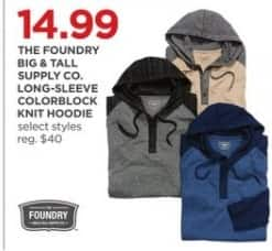 JCPenney Black Friday: The Foundry Big & Tall Supply Co. Men's Long-Sleeve Colorblock Knit Hoodie, Select Styles for $14.99
