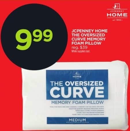 JCPenney Black Friday: JCPenney Home The Oversized Curve Memory Foam Pillow for $9.99