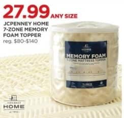 JCPenney Black Friday: JCPenney Home 7-Zone Memory Foam Toppers, Any Size for $27.99