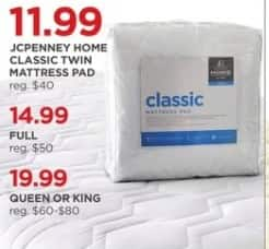 JCPenney Black Friday: JCPenney Home Classic Mattress Pad: Twin, Full, Queen or King for $11.99 - $19.99