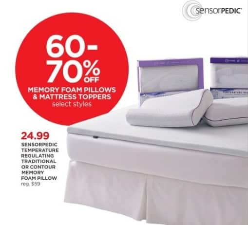 JCPenney Black Friday: Sensorpedic Temperature Regulating Traditional or Contour Memory Foam Pillow for $24.99