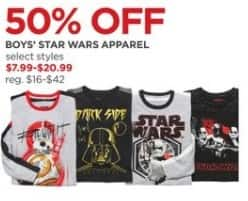 JCPenney Black Friday: Boys' Star Wars Apparel, Select Styles - 50% Off