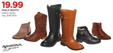 JCPenney Black Friday: Arizona Jeans Girls' Boots, Select Styles for $19.99