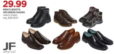 JCPenney Black Friday: J. Ferrar Men's Boots or Dress Shoes, Select Styles for $29.99
