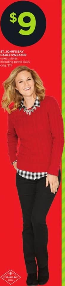JCPenney Black Friday: St. John's Bay Women's Cable Sweater, Select Styles for $9.00