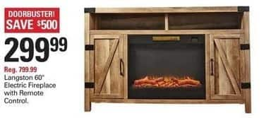 """Shopko Black Friday: Langston 60"""" Electric Fireplace with Remote Control for $299.99"""