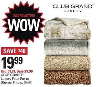Shopko Black Friday: CLUB GRAND Luxury Faux Fur to Sherpa Throw for $19.99