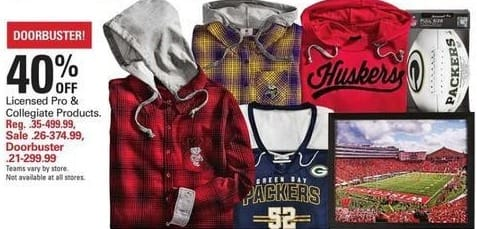 Shopko Black Friday: Licensed Pro and Collegiate Items - 40% Off