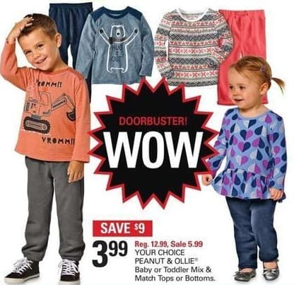 Shopko Black Friday: Peanut & Ollie Baby or Toddler Tops or Bottoms, Your Choice for $3.99
