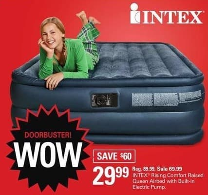 "Shopko Black Friday: Intex Queen Raise 22"" Airbed with AC Electric Pump for $29.99"