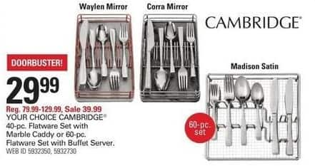 Shopko Black Friday: Cambridge 40-pc Flatware Set w/ Marble Caddy or 60-pc Flatware Set w/ Buffet Server for $29.99