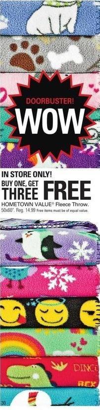 Shopko Black Friday: Hometown Value Fleece Throw, Select Styles - B1G3 Free