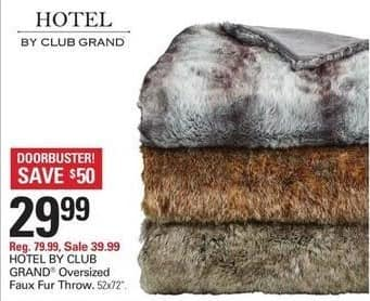 "Shopko Black Friday: Hotel by Club Grand Oversized Faux Fur Throw 52""x72"" for $29.99"
