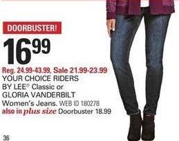 Shopko Black Friday: Riders by Lee Classic or Gloria Vanderbilt Women's or Women's Plus Jeans for $16.99 - $18.99