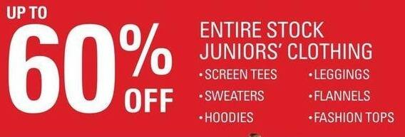 Shopko Black Friday: Entire Stock Juniors' Clothing, Including Hoodies, Sweaters, Screen Tees, Leggings and More - up to 60% Off