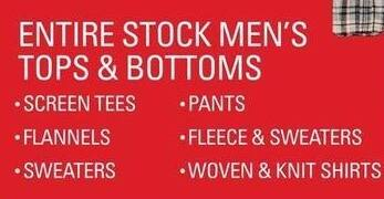 Shopko Black Friday: Entire Stock Men's Tops & Bottoms, Including Screen Tees, Pants, Fleece, Sweaters, Flannel and More - Up to 60% Off