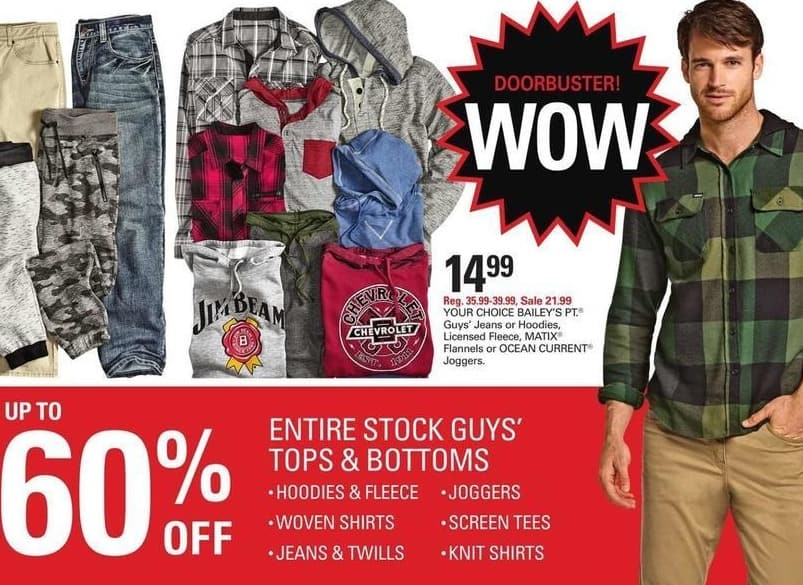 Shopko Black Friday: Entire Stock Guys' Tops and Bottoms, Including Hoodies, Jeans, Shirts, Joggers and More - up to 60% Off