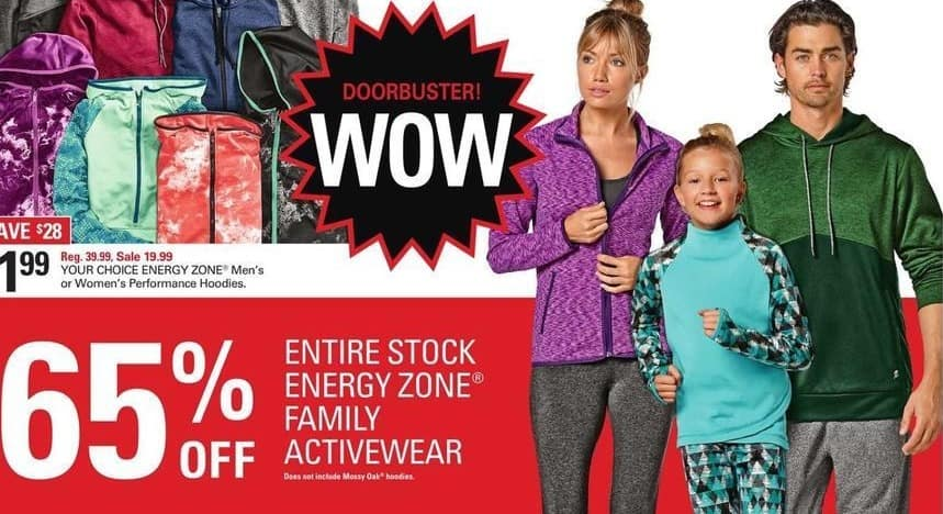 Shopko Black Friday: Entire Stock Energy Zone Family Activewear - 65% Off